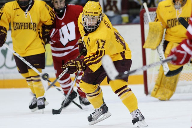Gophers senior forward Emily West plays against Wisconsin Saturday at Ritter Arena.
