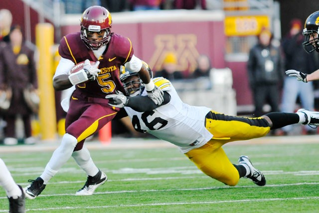 Sophomore MarQueis Gray runs the ball up field against the University of Iowa on Saturday at the TCF Bank Stadium.
