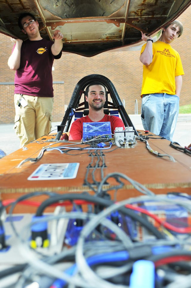 The University of Minnesotas 2010 solar vehicle was built entirely by students. It weighs 180 kilograms and can reach speeds up to 80 mph.