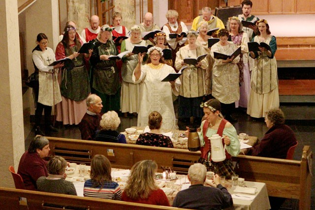 Diners and actors take part in a medieval themed dinner-performance Saturday at University Baptist Church.