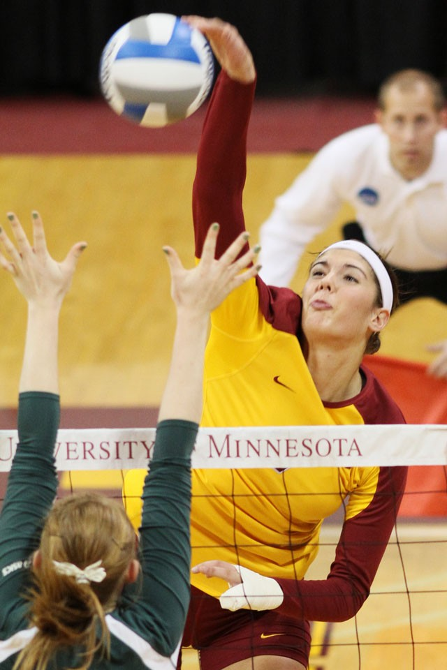 Sophomore outside hitter Tabitha Love plays against North Dakota State Friday at the Sports Pavilion.