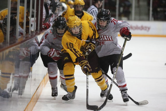 Freshman forward Kelly Terry pushes through Ohio State Sunday at Ritter Arena.