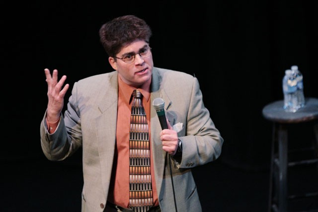 Stand-up comic Keith Barany demonstrates an 'advancing hairline' on Saturday during the Jewish Humor Festival at the Sabes Jewish Community Center.  Barany has written for major television productions such as the Emmy Awards, The Jimmy Kimmel Show and Seinfeld.