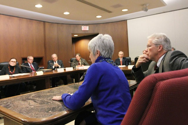 Maureen Reed, former chair of the University of Minnesota Board of Regents and current board of regents member Rick Beeson speak to new incoming board of regent members in the state office building on Thursday.