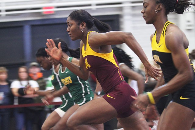 Sophomore Nyoka Giles competes in the women's 60 meter race on Saturday at the UMN Fieldhouse.