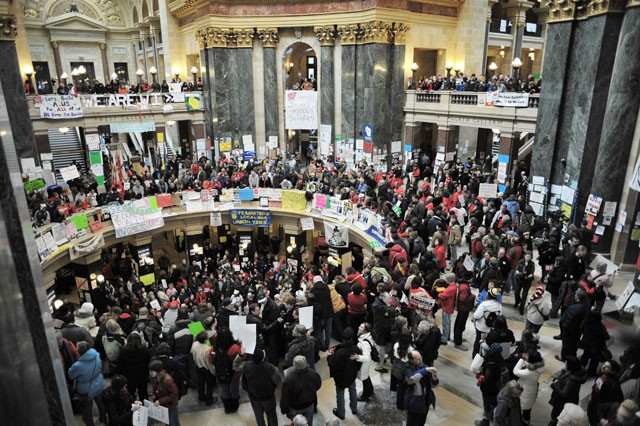 Wisconsin protesters settle in as labor battle drags on
