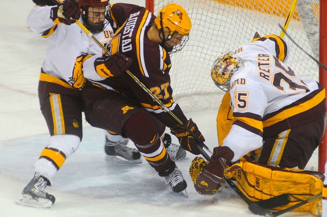 First year forward Nick Bjugstad takes a shot against University of Minnesota Duluth on Saturday at the Amsoil Arena in Duluth Minn.