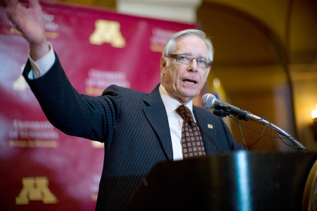 University of Minnesota president Robert Bruininks speaks at the Rally To Restore Affordability Tuesday at the Minnesota State Capital in St Paul, Minn. University of Minnesota students demand the restoration of affordability to higher education.