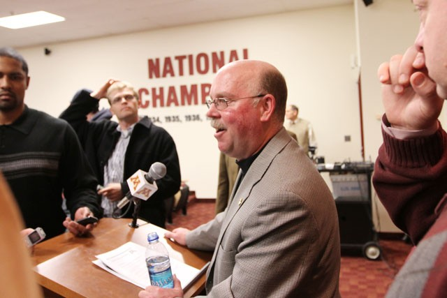 Football head coach Jerry Kill speaks to members of the media about new player signings at the Gibson-Nagurski Football Complex on Wednesday.