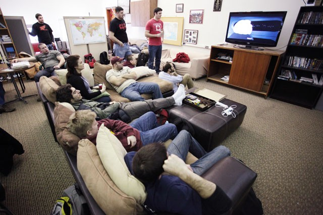 Students of the MN veterans group watch a movie Friday afternoon in Westbrook Hall. The group has pizza friday every week where members can come and relax for a few hours before continuing with homework.