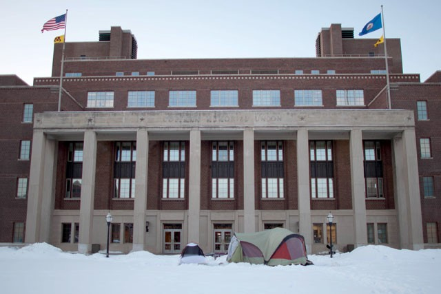 The two tents stands still in front of Coffman Union at the temperature of ten below on Tuesday morning.