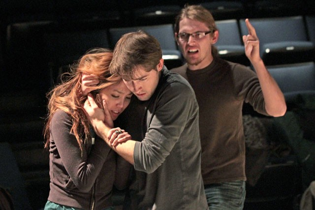 Danice Cabanela, left, Josiah Laubenstein, center, and Levi Morris rehearse Journey, a play based on the 12th century Islamic novel Hay Ibn Yaqdhan, Tuesday at the Rarig Center.