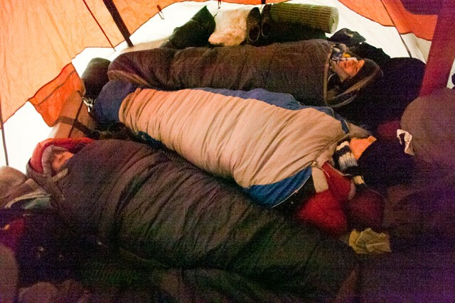 Students brave the sub-zero temperature for energy saving awareness by camping in front of Coffman Union.