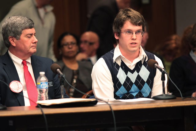 University of Minnesota Student Association member Jonathan Schmidt spoke at the Minnesota Senate Higher Education Committee Wednesday afternoon at the St. Paul capitol.