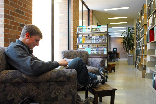 Mortuary Science sophomore Luke Mooi is one of the two students studying Tuesday at the EFW Library. Because of the minimal use of the Fishery Library in Skok Hall and the EFW Library in Hodson Hall, a decision will be made by the end of the spring semester.