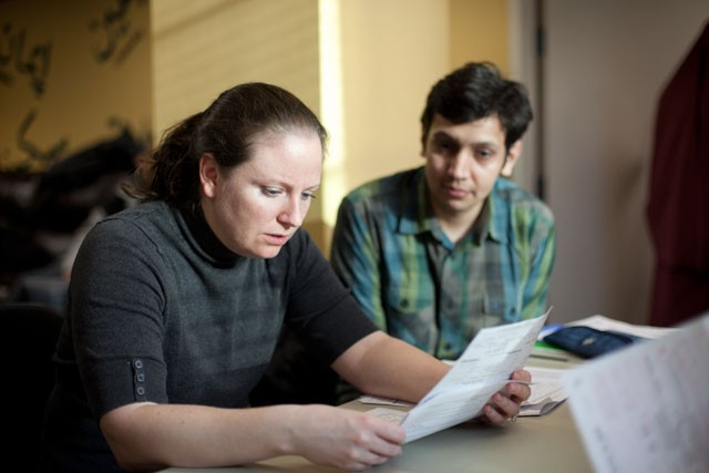 Volunteer Marea Clarke helps third year Phd student Aditya Pal prepare his taxes. MuslimBUDDY, Inc holds free weekly clinics on campus to help non-resident aliens for the taxes.