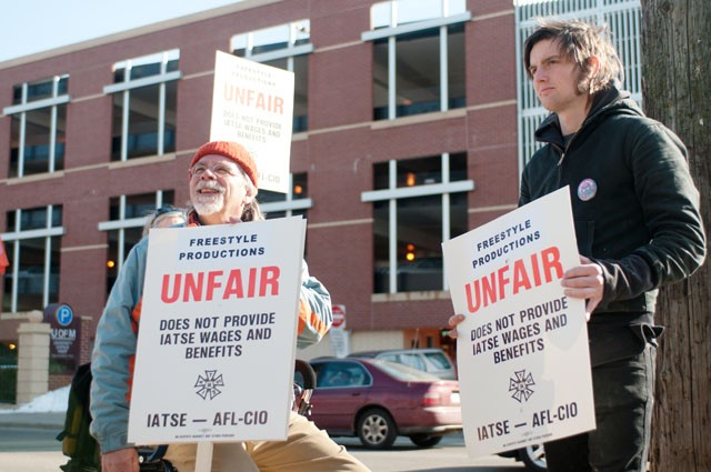 Union members picket on campus