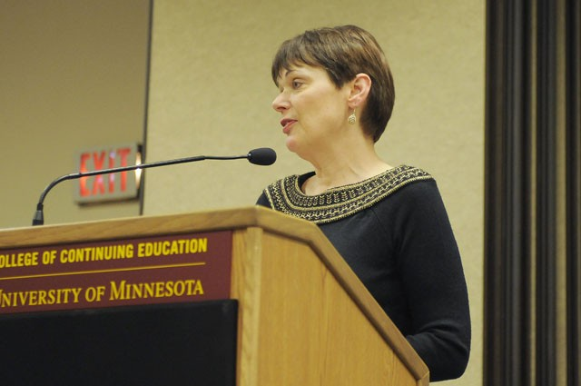 Sen. Sandy Pappas speaks at Friday's Oxfam America Hunger Banquet in St. Paul. The banquet marked the end of the first International Women's Week and highlighted the struggles women across the globe share.