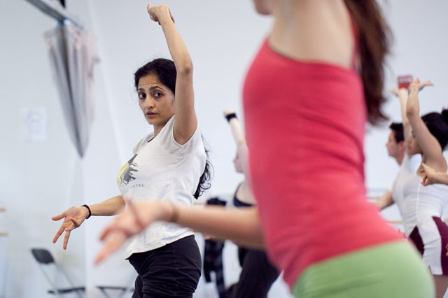 Professor Ananya Chatterjea works on the choreaographywith students in her contemporary Indian dance class Wednesday afternoon in Barbara Barker Center for Dance.