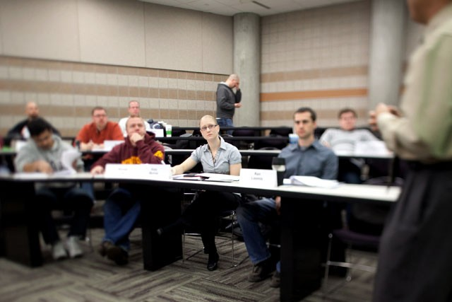 Graduate student Katy Morlok attends Data Analysis and Statistics for Managers of the MBA program Saturday morning in the Carlson School of Management. While 40 percent of GMAT test takers were women, 30 percent of Carlson's MBA students are women.