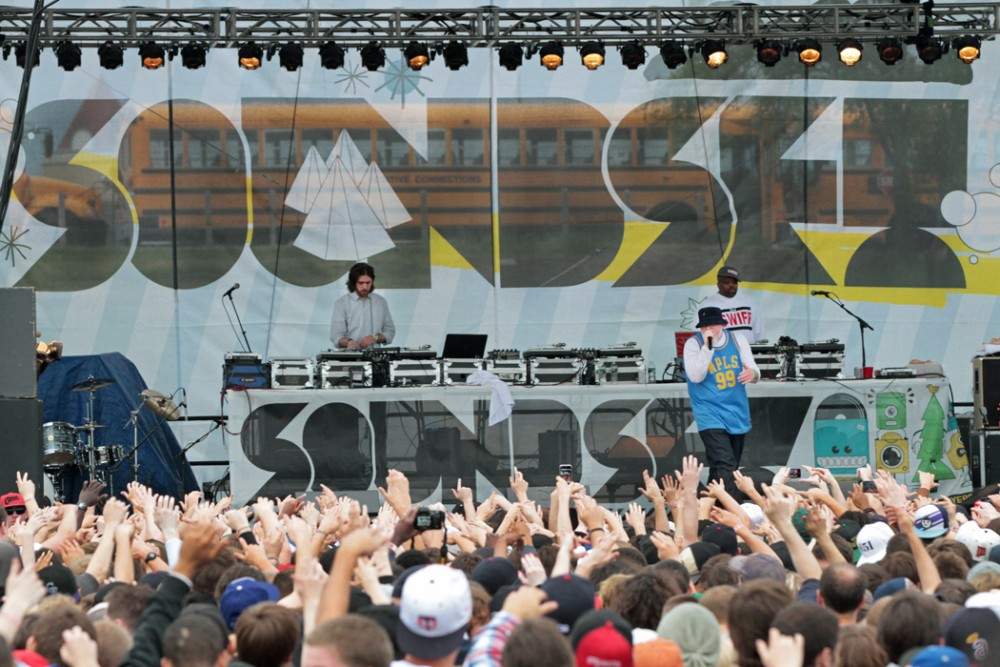 Minneapolis rapper Brother Ali entertained an excited crowd on Sunday.