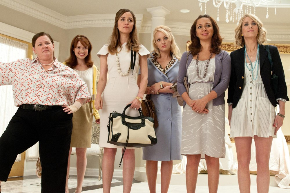Wiig, far right, and McLendon-Covey, third from right, star in
