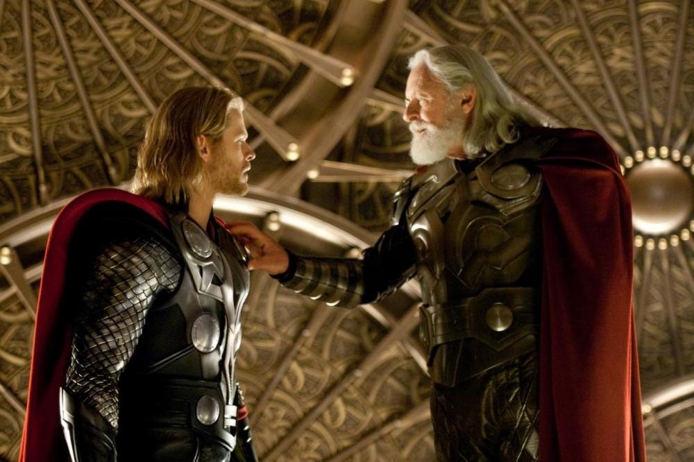 Anthony Hopkins as Odin bestows celestial wisdom to Chris Hemsworth's Thor, left.