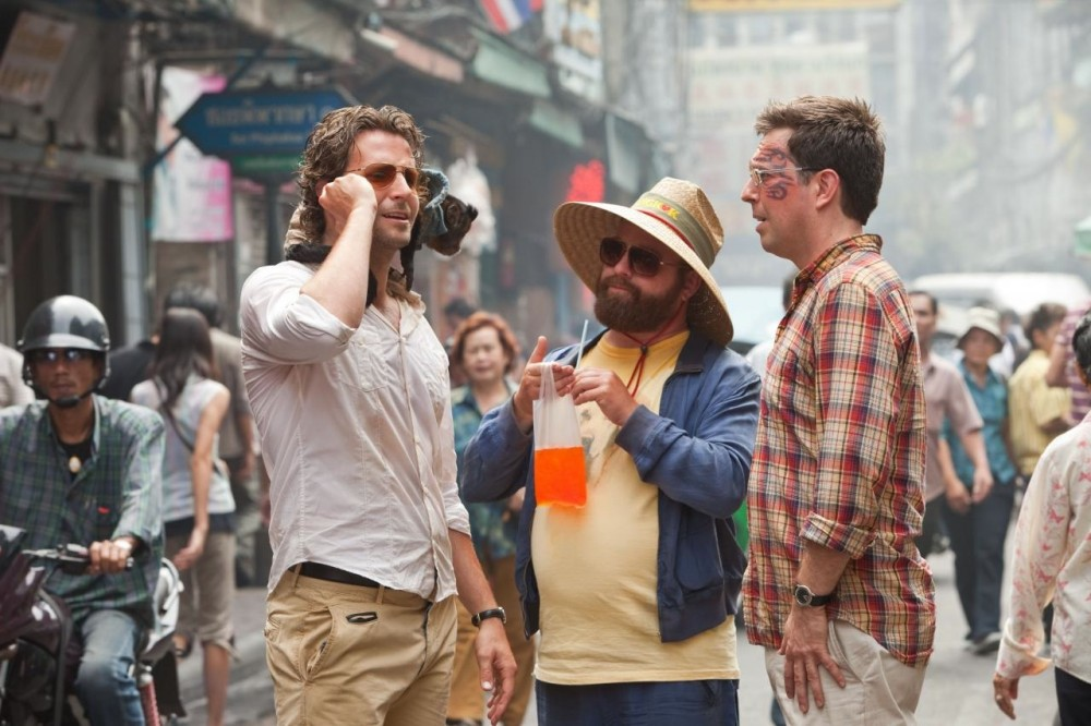 Zach Galifianakis (center) and Ed Helms (left) bring the film's few laughs.
