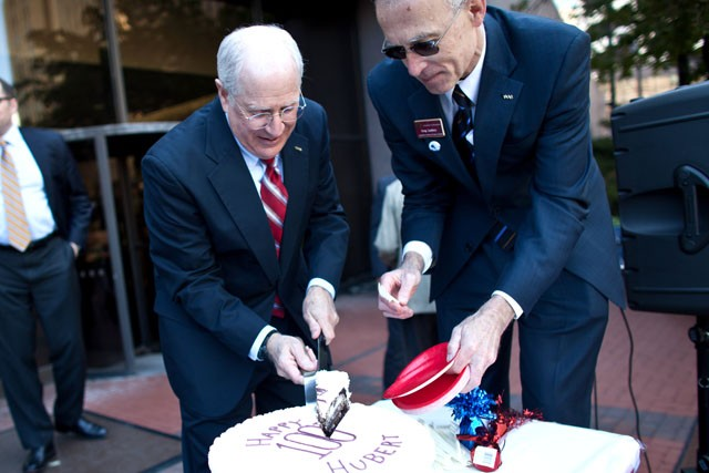 "Hubert ""Skip"" Humphrey III cut the birthday cake to celebrate his fathers 100th birthday. Hubert Humphrey celebration was at the Hennepin Country Government Center Plaza on May 26,2011."