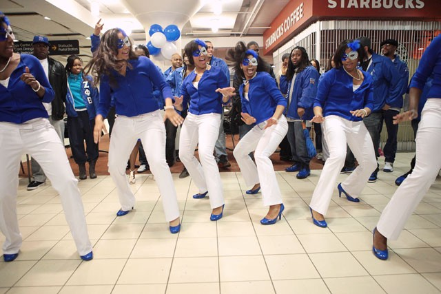 New Zeta Phi Beta sorority probates perform their step routine April 22nd in the Cube of Coffman.