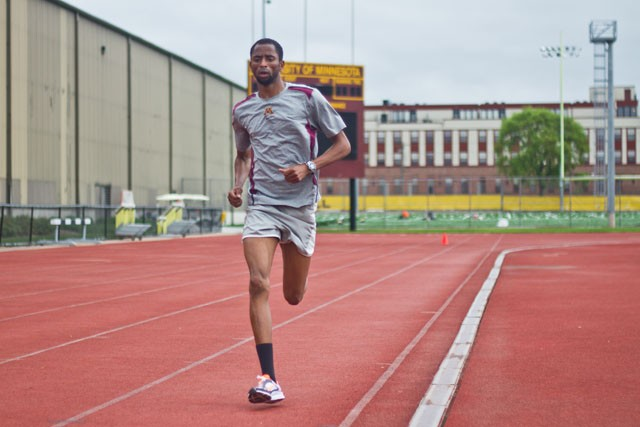 Gopher's junior Hassan Mead runs sprints during morning practice on Tuesday at Bierman and Track Field Complex.