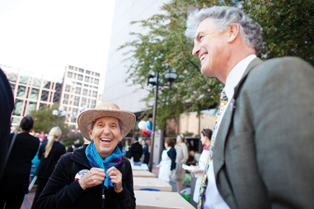 Retired nurse Ellen Miele celebrates Humphrey's 100th birthday at Hennepin County Government Center Plaza. Miele met Humphrey in Minnetonka when she was young.