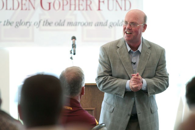 Coach Jerry Kill talks about his plans for the Gopher football team Monday at the Somerby Golf Club in Byron, Minn.