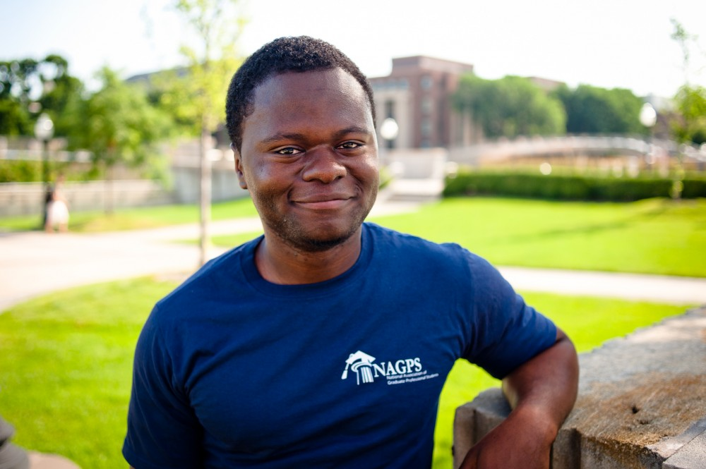 GAPSA president Abou Amara poses for a portrait Monday on Northrop Mall.  Amara faces possible impeachment in the fall.