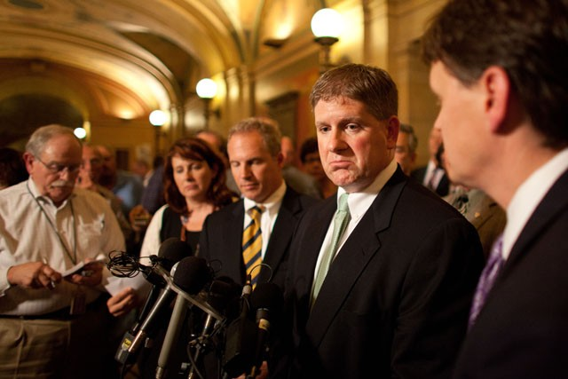 Speaker of the Minnesota House of Representatives, Kurt Zellers speaks to members of the press Thursday at the Capitol.