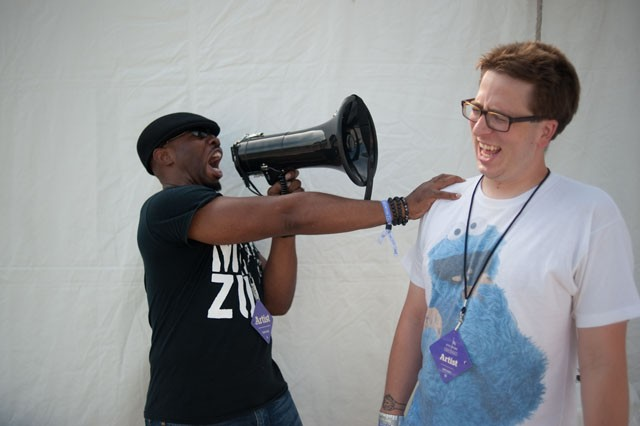 Chicago-based DJ Chrissy Murderbot, right, is attacked by his Pitchfork Music Festival hype-man MC Zulu.