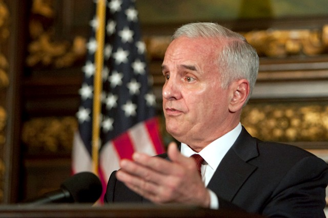 Gov.+Mark+Dayton+speaks+at+a+press+conference+Thursday+at+the+capitol.+Dayton+announced+that+no+budget+deal+was+reached+with+lawmakers+in+time+to+prevent+a+state+government+shutdown.+