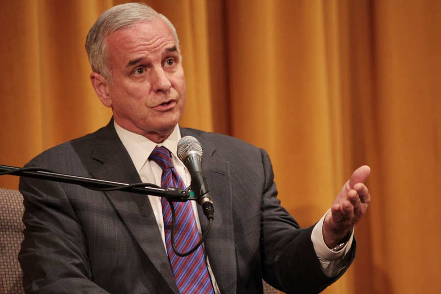 Gov. Mark Dayton speaks about the government shutdown Thursday at the Humphrey School.