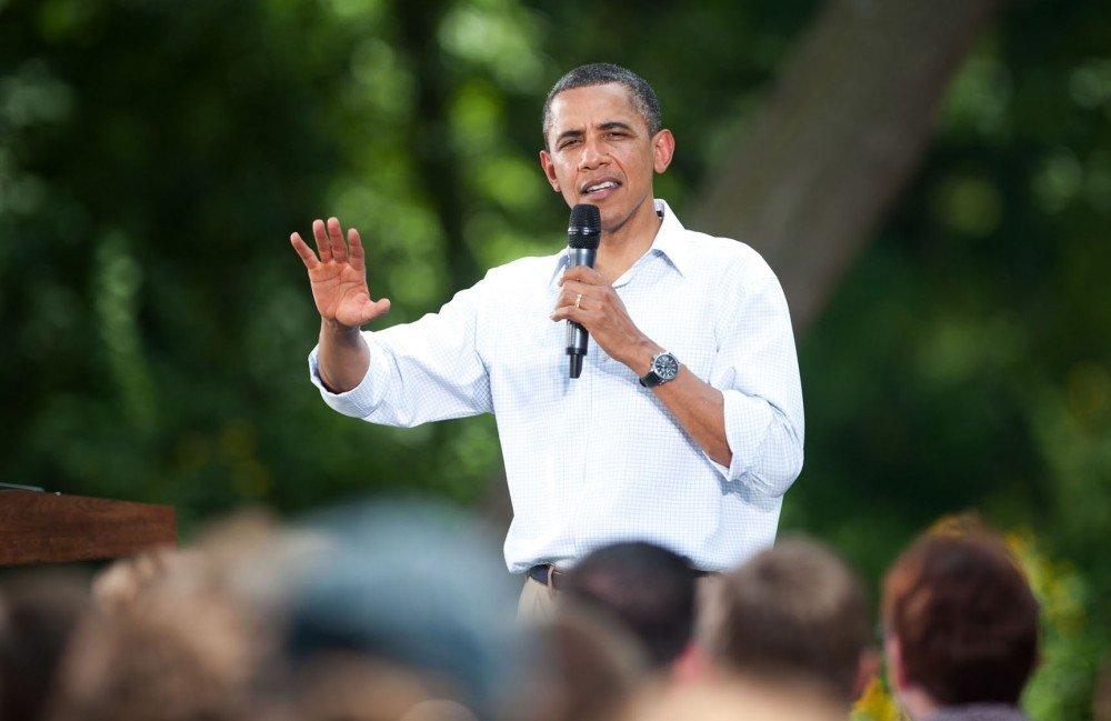 President Obama speaks to crowds on Monday in Cannon Falls, Minn.  The event kicked off a three-day bus tour of the Midwest.