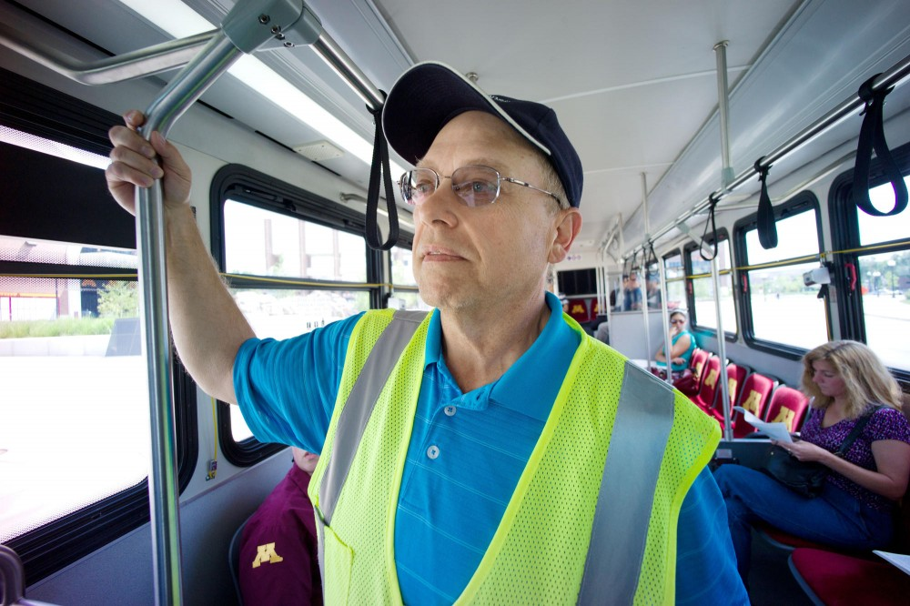First Transit Safety Manager John Garceau explains how the safety training program works Thursday on a Campus Connector.