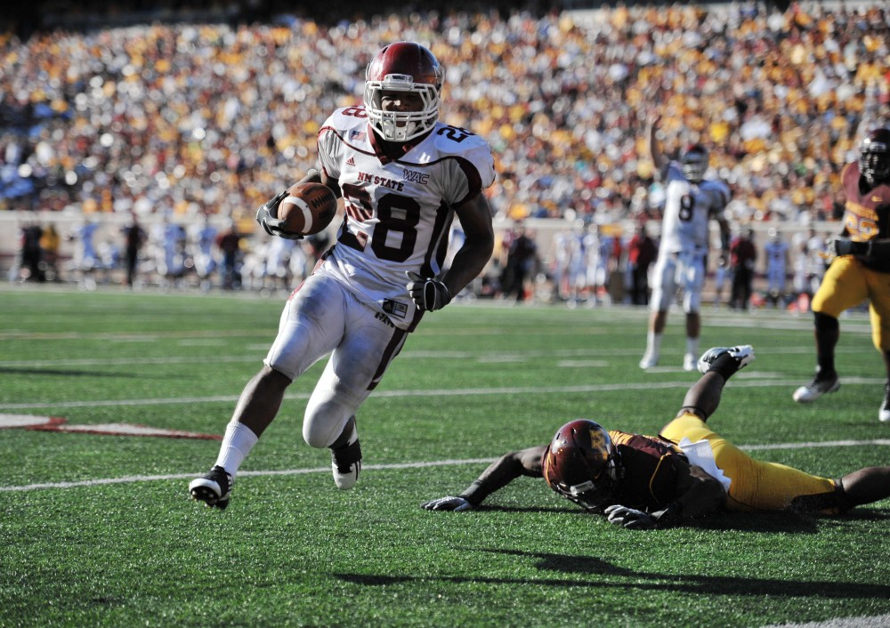 New Mexico State running back Robert Clay walked into the end zone on Saturday at TCF Bank Stadium.  Minnesota struggled to stop NMSU's offense throughout the game.