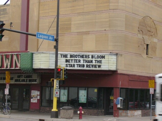 One of the Uptown's many humorous marquees on display.