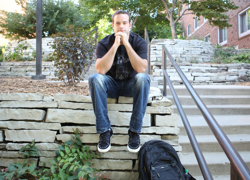 Sociology major Rob Stewart poses for a photo Wednesday afternoon on the U of M campus. Stewart is a member of the Boynton supported student group SOBER which provides students with a supportive community as they go through various stages of recovery.
