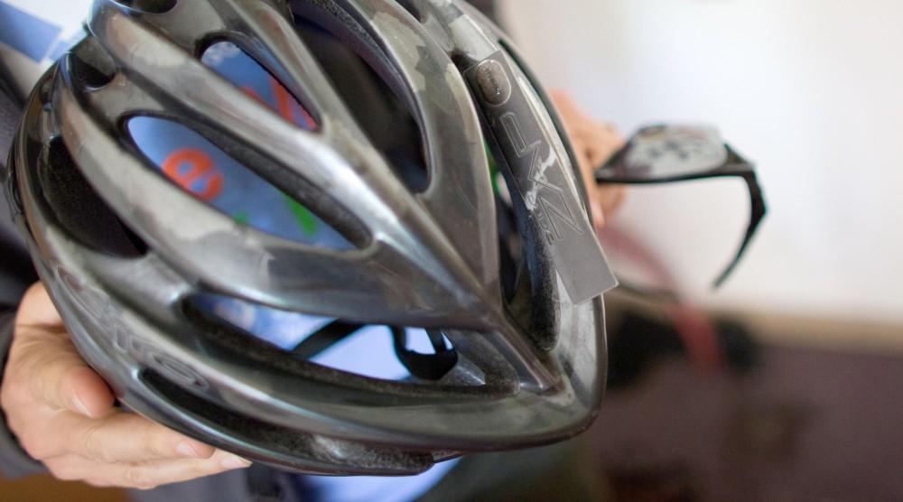 The RFID device installed on Lee's helmet.