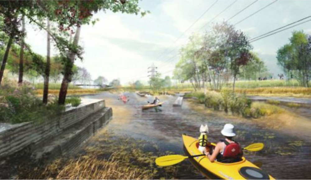 An artist's rendering of proposed wetland along the Mississippi River in North Minneapolis.