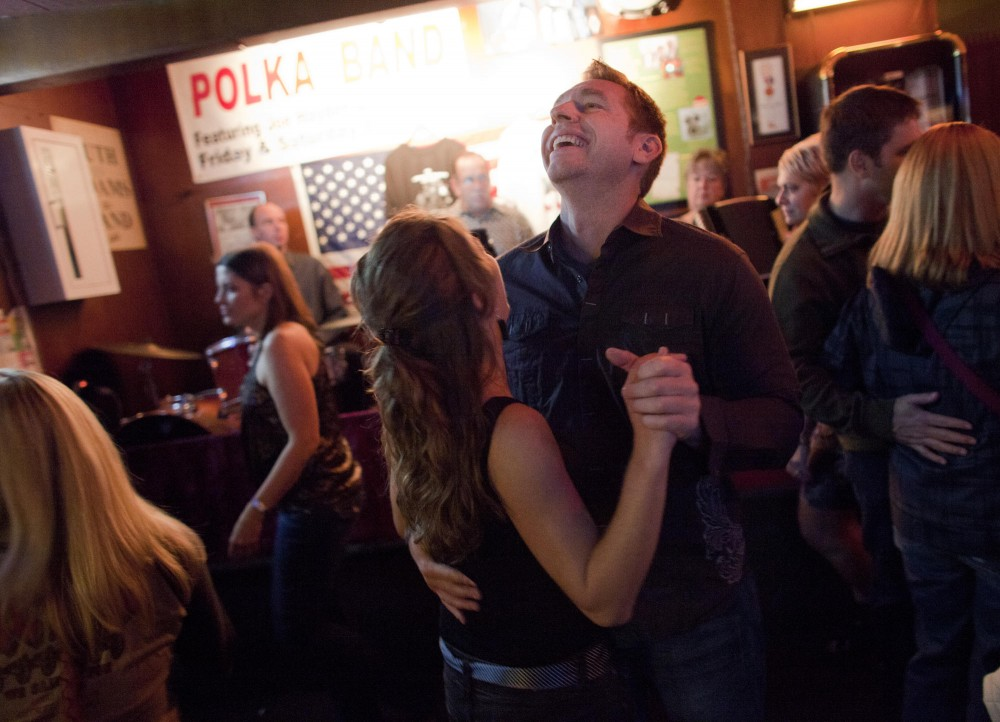 Ted Wiebolt dances with Dawn Hermel Saturday evening at Nye's Polonaise.