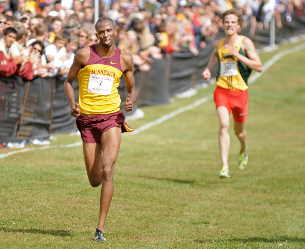 Senior Hassan Mead approaches the finish line Saturday during the 26th Annual Roy Griak Invitational on the St. Paul Campus.