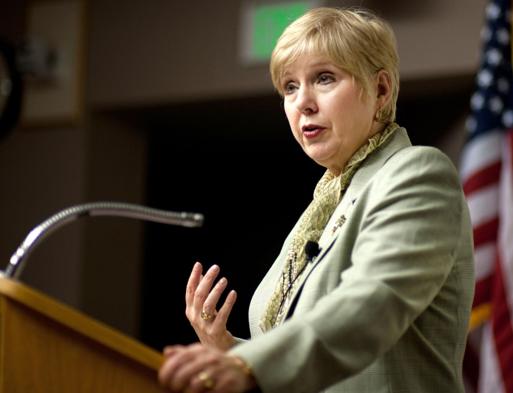 Executive vice president of Indiana University Karen Hanson speaks about her candidacy for the position of Senior Vice President for Academic Affairs Tuesday at Keller Hall.