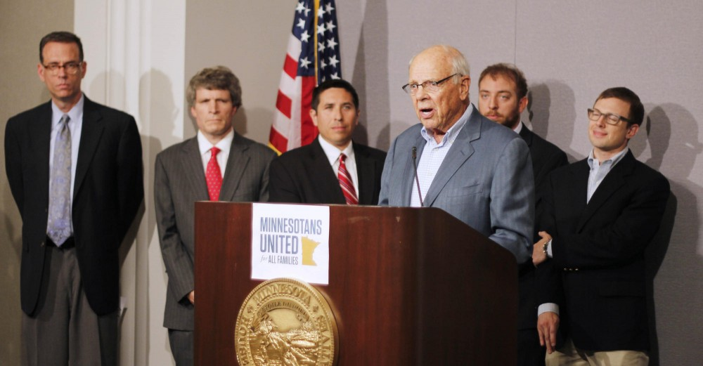 Wheelock Whitney spoke at a press conference Thursday for the Minnesotans United for All Families Coalition. Whitney was joined by other members of the Republican party to oppose the upcoming Minnesota marriage amendment.
