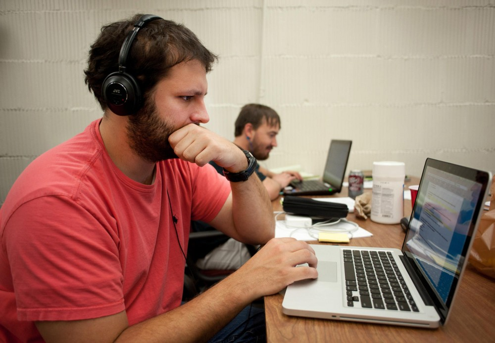 First year computer science graduate student Mathew Ryden, who have been in Navy for years, studies between classes at Veterans Transition Center Tuesday. Student veterans spend time studying, chatting or playing video games with other veterans.